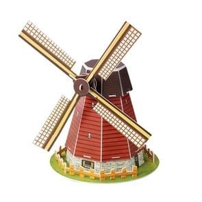 3 PCS 3D Puzzel Mini World Building Model Kinderen assembleren intellectuele speelgoed (Dutch Windmills)
