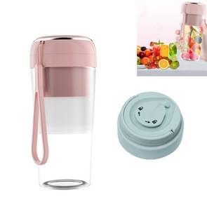 Elektrische kleine juicer Draagbare USB Home Mini Juice Cup  Stijl: Met Vacuüm Deksel (Roze)