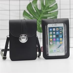 Lock Buckle Messenger PU Lederen Touch Screen mobiele telefoon tas voor mobiele telefoons onder 6 5 inch (Zwart)