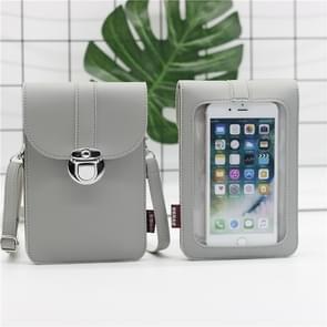 Lock Buckle Messenger PU Lederen Touch Screen mobiele telefoon tas voor mobiele telefoons onder 6 5 inch (Grijs)