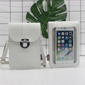 Lock Buckle Messenger PU Lederen Touch Screen mobiele telefoon tas voor mobiele telefoons onder 6 5 inch (wit)