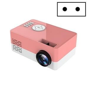 S261/J16 Home Mini HD 1080P Draagbare LED-projector  ondersteuning TF-kaart / AV / U-schijf  stekkerspecificatie:EU-stekker(Roze Wit)