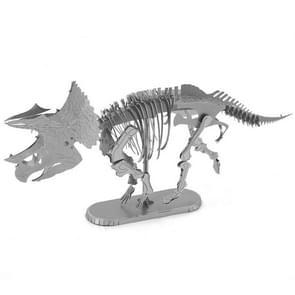 3D Metal Assembly Model DIY Puzzel Dinosaur Model  Style: Triceratops Skeleton (Zilver)