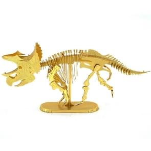 3D Metal Assembly Model DIY Puzzel Dinosaur Model  Style: Triceratops Skeleton (Goud)