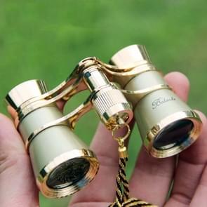 3x25mm Klassieke Dames Drama Watching Telescope Dragen verrekijker met ketting (Golden)