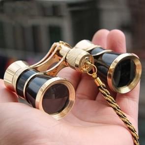 3x25mm Klassieke Dames Drama Watching Telescope Dragen verrekijker met ketting (Zwart)