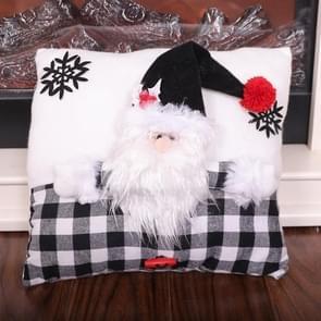 Creative Black White Grid Cartoon Kerstkussen (Santa Claus)