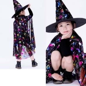 2 PCS Halloween Cloak Child Witch Cosplay Magician Kindergarten Stage Performance Cloak Cape Cap  Grootte: One Size (Black Colored Gold )