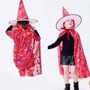 2 PCS Halloween Cloak Child Witch Cosplay Magician Kindergarten Stage Performance Cloak Cape Cap  Grootte: One Size (Red Colored Gold )