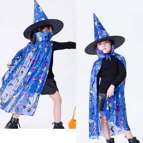 2 PCS Halloween Cloak Child Witch Cosplay Magician Kindergarten Stage Performance Cloak Cape Cap  Grootte: One Size (Blue Colored Gold)