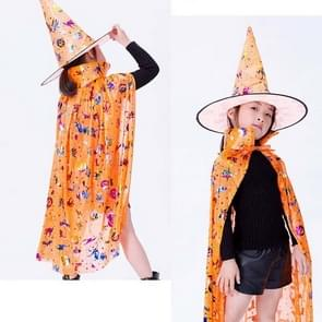 2 PCS Halloween Cloak Child Witch Cosplay Magician Kindergarten Stage Performance Cloak Cape Cap  Grootte: One Size (Orange Colored Gold )