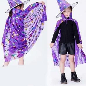 2 PCS Halloween Cloak Child Witch Cosplay Magician Kindergarten Stage Performance Cloak Cape Cap  Grootte: One Size (Purple Colored Gold )