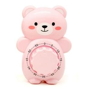 3 PCS Cartoon Bear Timer Keuken Gadget Mechanische Timer (Roze)