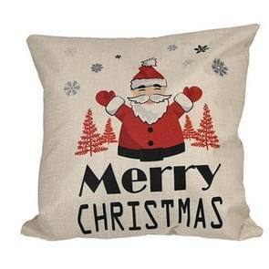 4 PCS kerstversiering linnen kussenslopen vierkante kussenslopen zonder pillow core (Santa Claus)