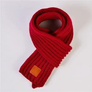 Autumn Winter Boys Girls Baby Kid Solid Scarf Warm Knitted Scarves Women Scarf(Burgundy)