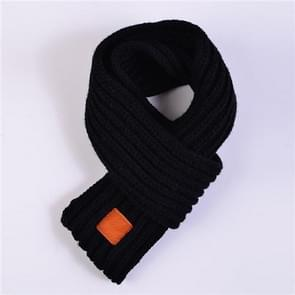 Autumn Winter Boys Girls Baby Kid Solid Scarf Warm Knitted Scarves Women Scarf(Black)