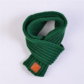 Autumn Winter Boys Girls Baby Kid Solid Scarf Warm Knitted Scarves Women Scarf(Green)