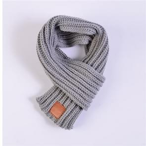 Autumn Winter Boys Girls Baby Kid Solid Scarf Warm Knitted Scarves Women Scarf(Grey)