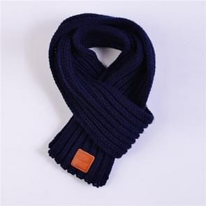 Autumn Winter Boys Girls Baby Kid Solid Scarf Warm Knitted Scarves Women Scarf(Navy)