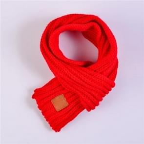 Autumn Winter Boys Girls Baby Kid Solid Scarf Warm Knitted Scarves Women Scarf(Red)