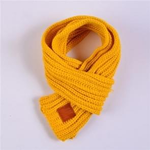 Autumn Winter Boys Girls Baby Kid Solid Scarf Warm Knitted Scarves Women Scarf(Yellow)