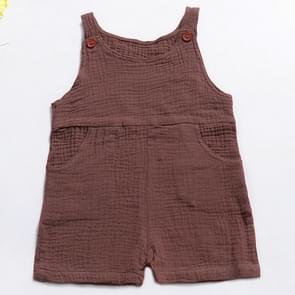 Summer Children Solid Color Jumpsuit Bib Shorts, Kid Size:90cm(Coffee)