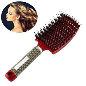 Haar hoofdhuid massage kam haarborstel Bristle nylon vrouwen krullend detangle Hair Brush voor salon Hairdressing styling tool (rood)