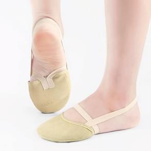 Rhythmic Gymnastics Shoes Soft Half Socks Ballroom Art Gym Accessories Ginastica Elastic Dance Shoes Gymnastics Khaki Color(XS(26-39))