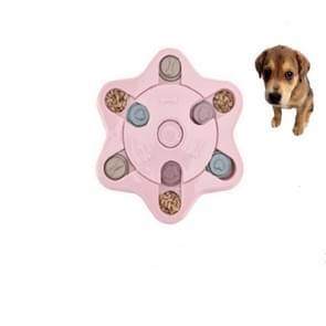 Pet Toy Dog Food Turntable Eating Puzzle Anti-Smashing Dog Bowl Supplies, Style:Hexagon Style(Pink)