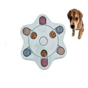 Pet Toy Dog Food Turntable Eating Puzzle Anti-Smashing Dog Bowl Supplies, Style:Hexagon Style(Blue)