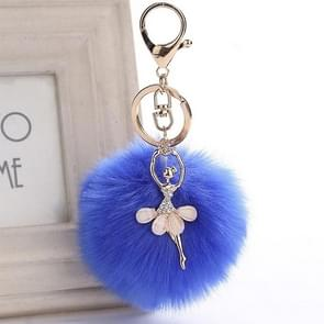 Woman Fashion Jewelry Angel Ballet Dancing Girl Fluffy Handbag Pendent Faux Rabbit Fur Pendant Women Bags Accessories(Royal Blue)