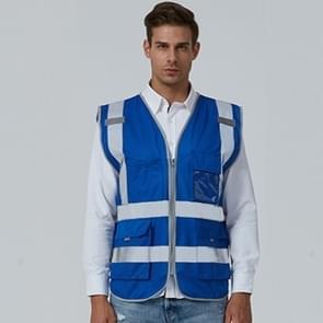 Multi-pockets Safety Vest Reflective Workwear Clothing, Size:XXL-Chest 130cm(Blue)