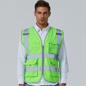 Multi-pockets Safety Vest Reflective Workwear Clothing, Size:XXL-Chest 130cm(Green)