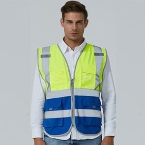 Multi-pockets Safety Vest Reflective Workwear Clothing, Size:XXL-Chest 130cm(Yellow Blue)