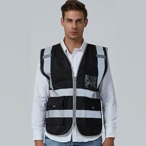 Multi-pockets Safety Vest Reflective Workwear Clothing, Size:L-Chest 118cm(Black)