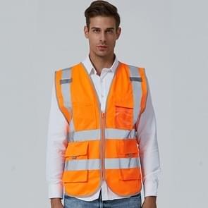 Multi-pockets Safety Vest Reflective Workwear Clothing, Size:L-Chest 118cm(Orange)