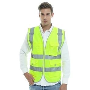 Meerdere zakken veiligheid Vest reflecterende werkkleding kleding, maat: XL-borst 124cm(Yellow)