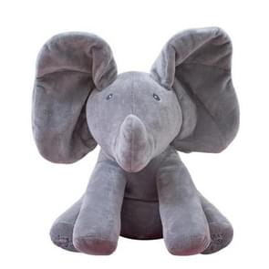 Singing Elephant/Bear Electronic Music Plush Toy Game Doll Educational soft stuffed Comfort Toy Gift for Children(gray)