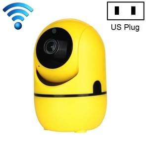 HD Cloud Wireless IP Camera Intelligent Auto Tracking Human Home Security Surveillance Network WiFi Camera, Plug Type:US Plug(720P Yellow)