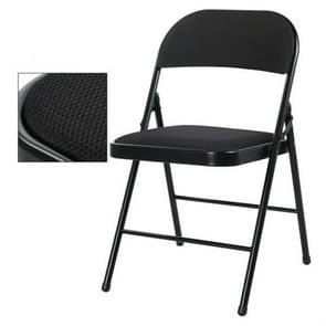 Portable Folding Metal Conference Chair Office Computer Chair Leisure Home Outdoor Chair(Black)
