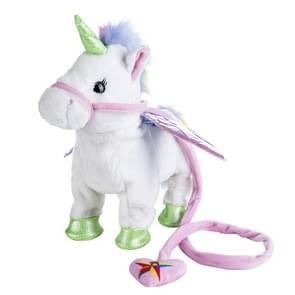 Electric Walking Unicorn Plush Toy Children Stuffed Animal Toy Electronic Music Unicorn Toy Christmas Gifts 35cm White
