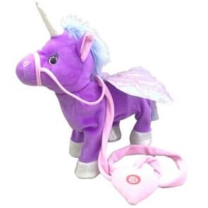 Electric Walking Unicorn Plush Toy Children Stuffed Animal Toy Electronic Music Unicorn Toy Christmas Gifts 35cm purple