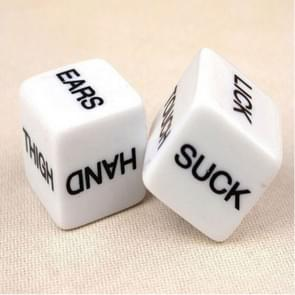 2 PCS Funny Sex Dice Humour Party Gambling Adult Games Sex Toys Cuboid(White)