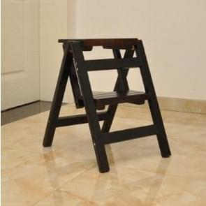 Household Multi Function Folding Ladder Stool Solid Wood Ladder Ascending Platform Step Stool Dual Purpose Rack Stair Chair(Black)