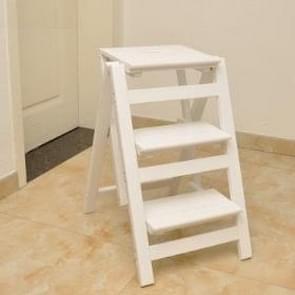 Huishoudelijke multi functie opvouwbare ladder kruk massief houten ladder oplopend platform stap kruk Dual Purpose rack trap stoel (wit)