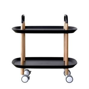 Fashion Kitchen Trolley Nordic Simplified Sitting Room Accommodating Mobile Sofa Home Multifunctional Dining Car(Black)