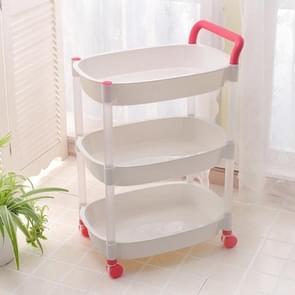 Kitchen Trolleys Plastic Multi Layer Wheel Rack Trolley  Kitchen Mobile Trolley Storage Shelf, Color:Three Layer  Pink