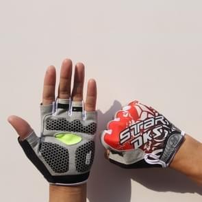 Fietsen Schok absorberenanti-slip handschoenen fitness gewicht heffen training halve vinger handschoenen  grootte: M (Rood)