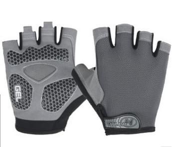 Fietsen Schokabsorberende Anti-Slip Handschoenen Fitness Gewicht heffen Training Halve vinger Handschoenen  Size: L (Grijs)