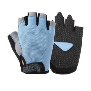 Summer Men Women Fitness Gloves Gym Weight Lifting Cycling Yoga Training Thin Breathable Antiskid Half Finger Gloves, Size:S(Light Blue)